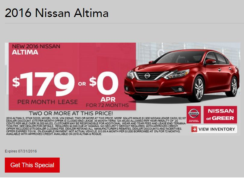 2016 Nissan Altima A Super Sedan Available At Finance Lease Rates